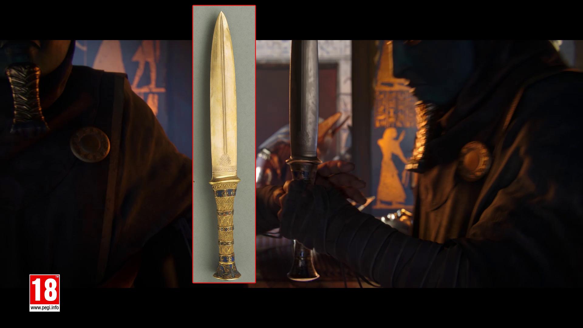 Uma comparação entre a adaga cerimonial de Tutancâmon e a usada pelos Mascarados