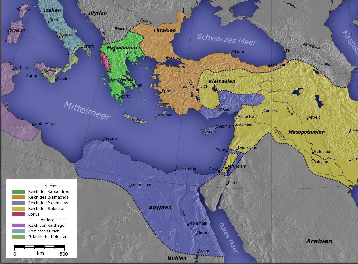 O Reino Ptolomaico, em azul, cerca de 300 a.C. (fonte: Wikipedia)